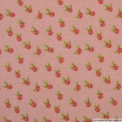 Coton imprimé bouquet fond rose