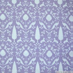 Coton imprimé campagne fond violet