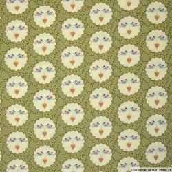 Coton imprimé oiseaux d'amour fond vert