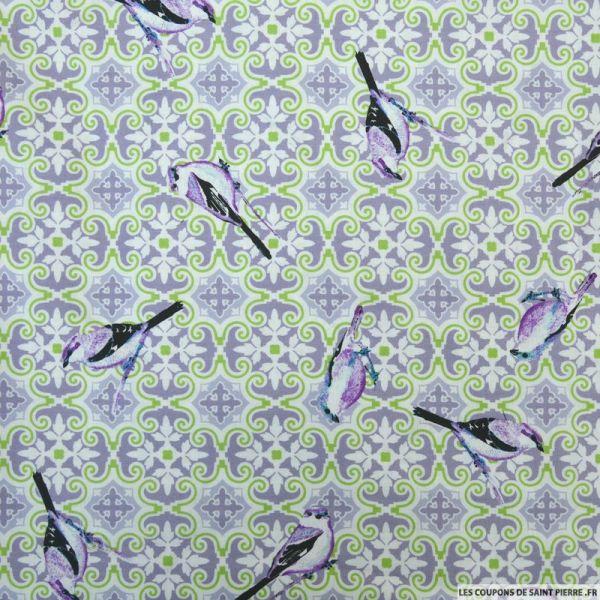 Coton imprimé oiseaux violet