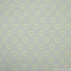 Coton imprimé coeur fond gris