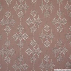Coton imprimé ethnique fond vieux rose