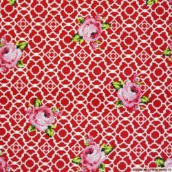 Coton imprimé champêtre fond rouge