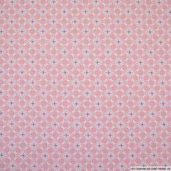 Coton imprimé arabesque et pois fond rose