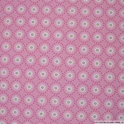 Coton imprimé rosaces et pois fond rose