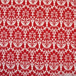 Coton imprimé versailles fond rouge