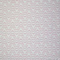 Coton imprimé tourbillon rose fond blanc