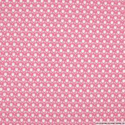 Coton imprimé tulipe fond rose
