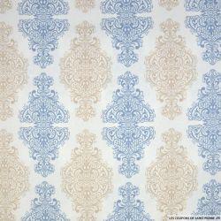 Coton imprimé versailles ciel et beige fond blanc