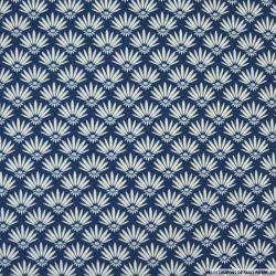 Coton imprimé marguerite fond marine