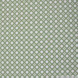 Coton imprimé étoiles roses et vertes fond blanc
