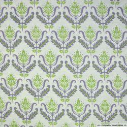 Coton imprimé arabesque vert fond blanc