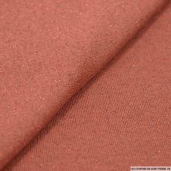 Molleton coton lurex fond marsala