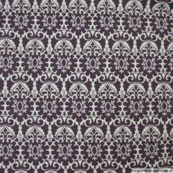 Coton imprimé versailles aubergine fond blanc