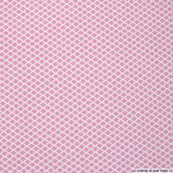 Coton imprimé losanges roses fond blanc