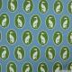 Coton imprimé chiens verts fond ciel