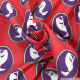 Coton imprimé chiens violet foncé fond rouge