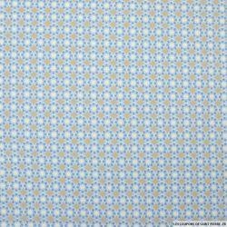 Coton imprimé cercles fleurs fond beige