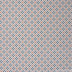 Coton imprimé azulejos fond vieux rose