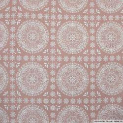 Coton imprimé grande rosace fond vieux rose