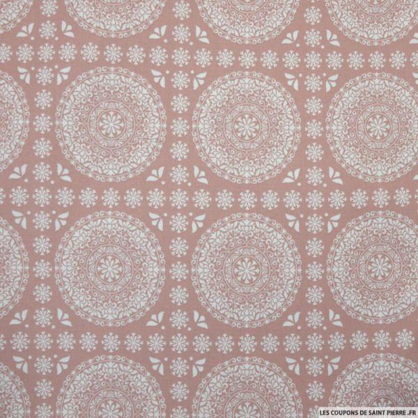 Coton imprimé grande rosace fond vieux