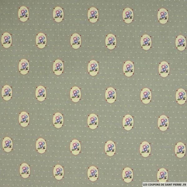 Coton imprimé médaillons et pois fond vert