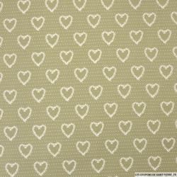 Coton imprimé coeur fond vert
