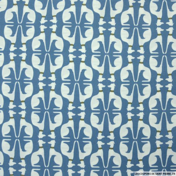 Coton imprimé chien fond bleu