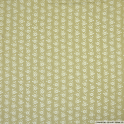 Coton imprimé coquillages fond amande
