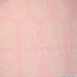 Coton imprimé grand cachemire fond rose