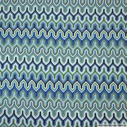 Coton imprimé muraille bleu et vert