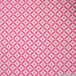 Coton imprimé losanges et cercles fond rose