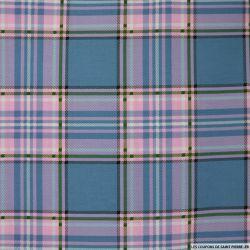 Coton imprimé quadrillé rose et bleu