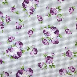 Coton imprimé bouquet fleuri fond vichy violet