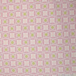Coton imprimé centre vert et graphique rose