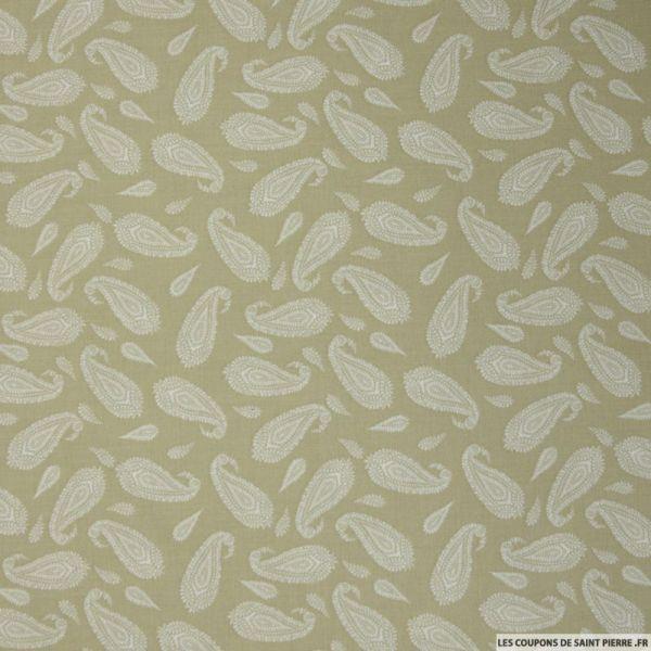 Coton imprimé grand cachemire fond vert de gris