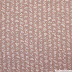 Coton imprimé coquilages fond vieux rose