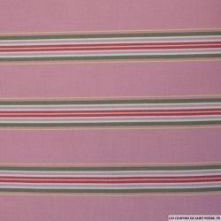 Coton Gütermann imprimé rayé fond rose