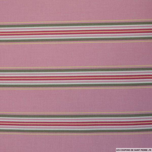 Coton imprimé rayé fond rose