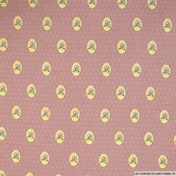Coton imprimé médaillons et pois fond vieux rose