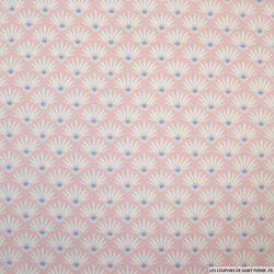 Coton imprimé demi marguerite fond blanc