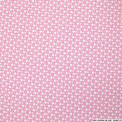 Coton imprimé à pois fond rose clair
