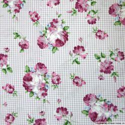Coton imprimé bouquet fleuri fond vichy parme