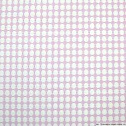 Coton imprimé losange blanc pois violet sur fond rose