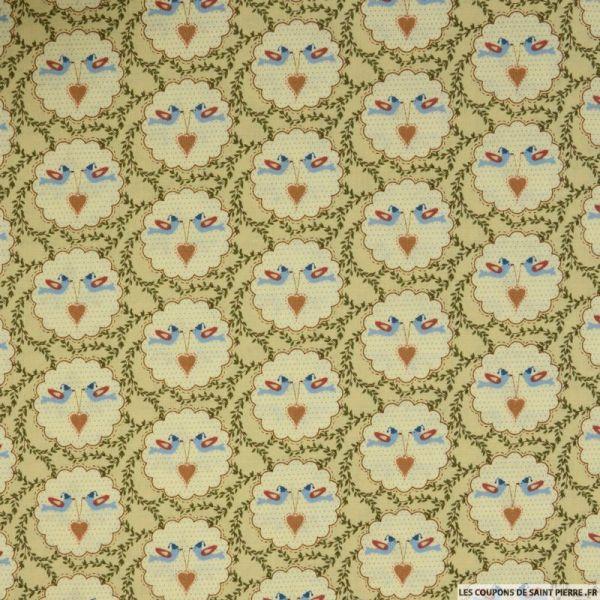 Coton imprimé amour fond beige
