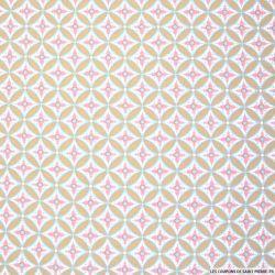 Coton imprimé géométrique rose et bleu