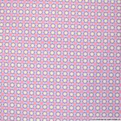 Coton imprimé cercles fleurs fond rose