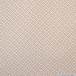 Coton imprimé graphique fond vieux rose