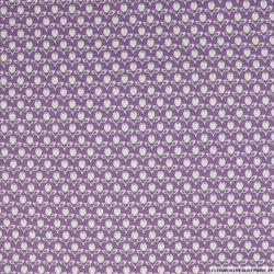 Coton imprimé tulipe fond violet