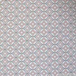 Coton imprimé graphique à pois beige fond vieux rose
